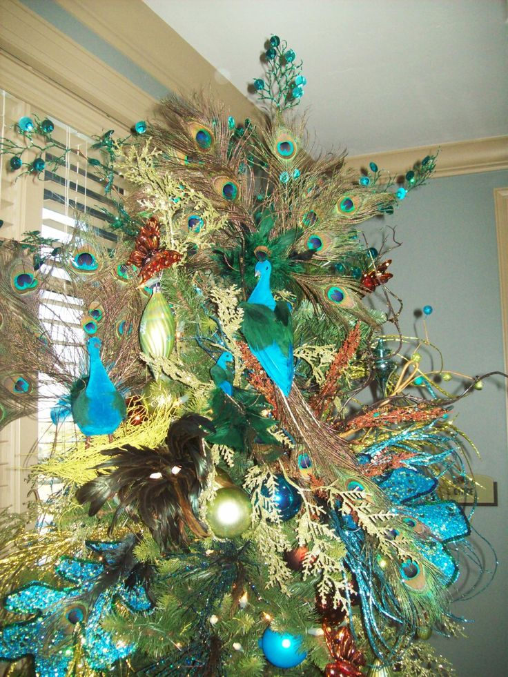 tree peacock christmas blue green peacock christmas tree pinterest