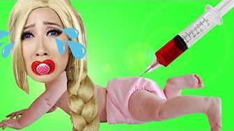 Bad Baby Princess Rapunzel vs Syringe & Witch! w/ Minnie Mouse, Peppa Pig & Paw Patrol Marshal IRL - YouTube