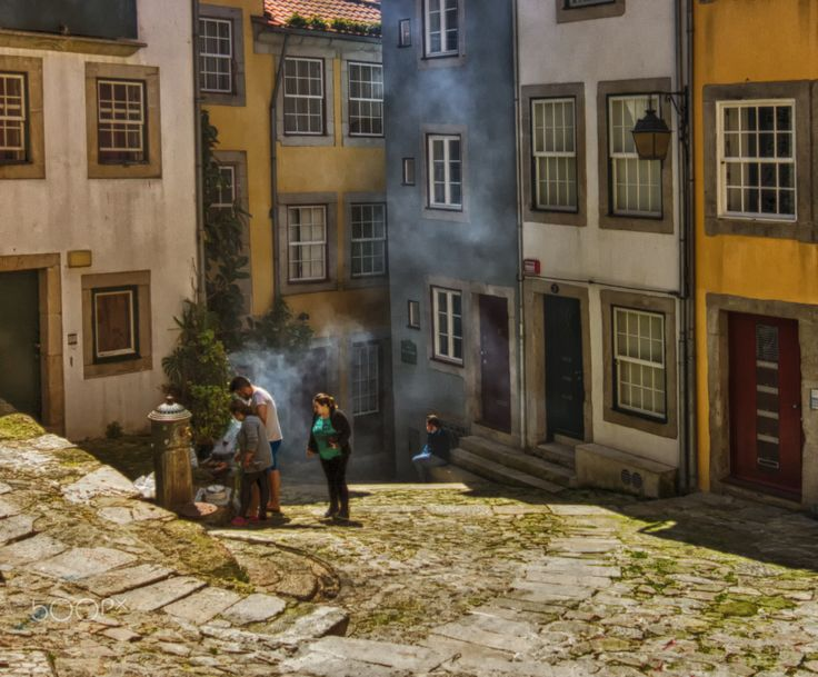 street bbq - A street bbq in one of the streets of Ribeira (world heritage site unesco), Porto, Portugal