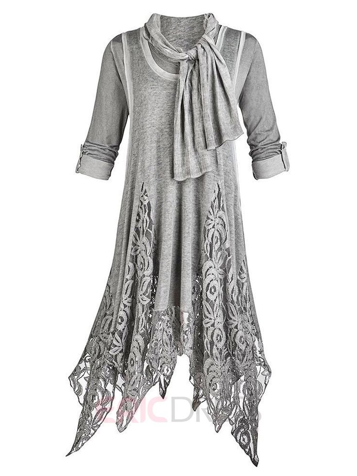 Ericdress Lace Patchwork Asymmetric with Scarf Casual Dress Casual Dresses