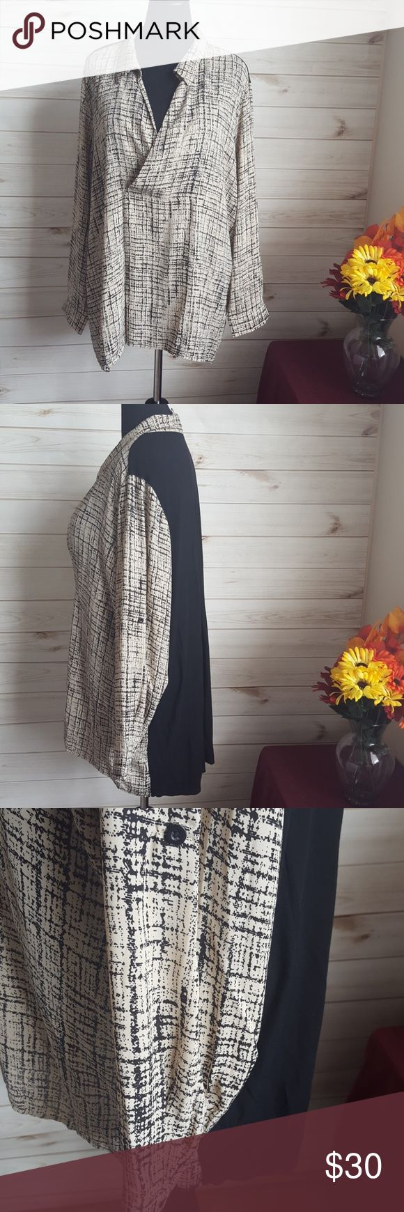 Black and Beige V Neck Tunic Knit back (97% Rayon 3% Spandex) and 100% Polyester…