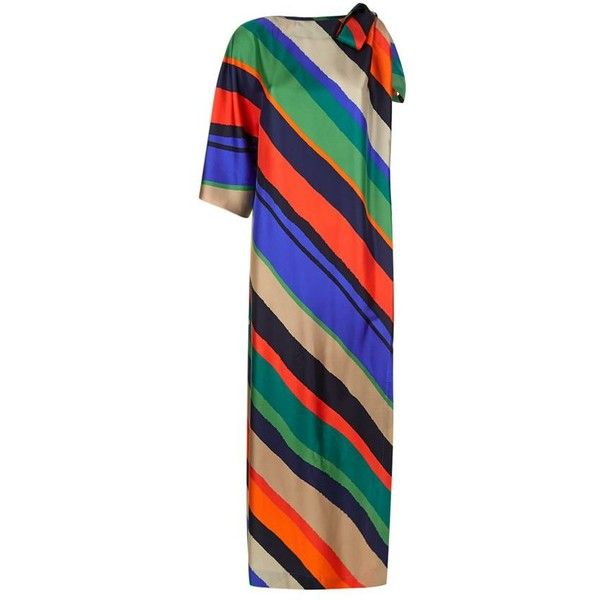 Escada Nanico Asymmetric Stripe Gown (1 125 AUD) ❤ liked on Polyvore featuring dresses, gowns, cocktail party dress, evening cocktail dresses, cocktail dresses, silk dress and going out dresses
