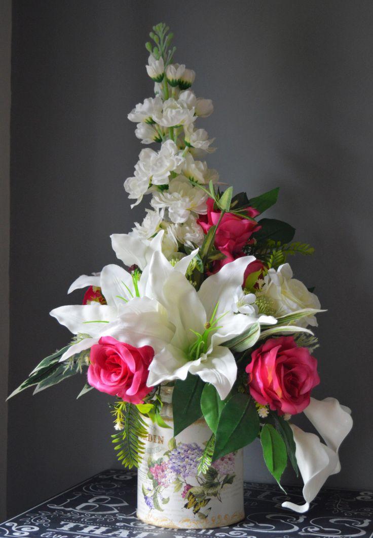 Vintage Milk Churn Flower Arrangement A Special Silk Floral Arrangement With Large Unique Flower Arrangements Flower Centerpieces Wedding Flower Arrangements