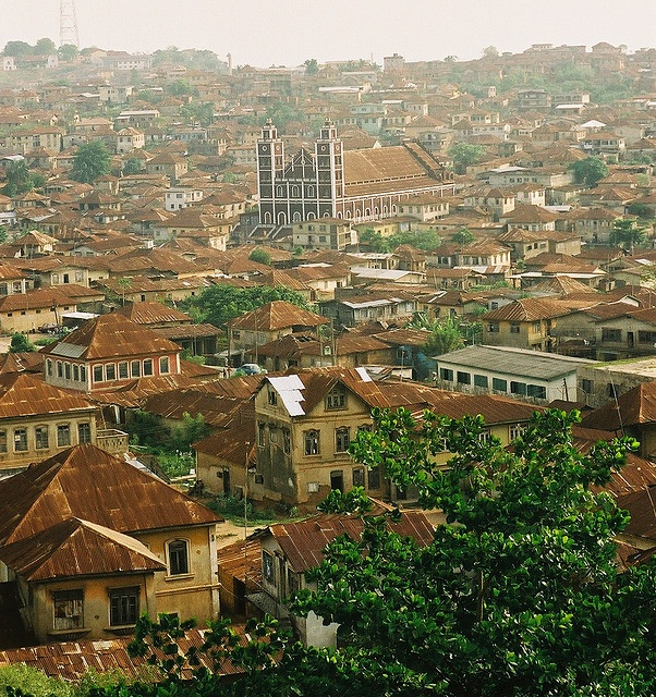 "Overlooking Abeokuta - the Yoruba town that  means literally ""under the rock"", Nigeria"
