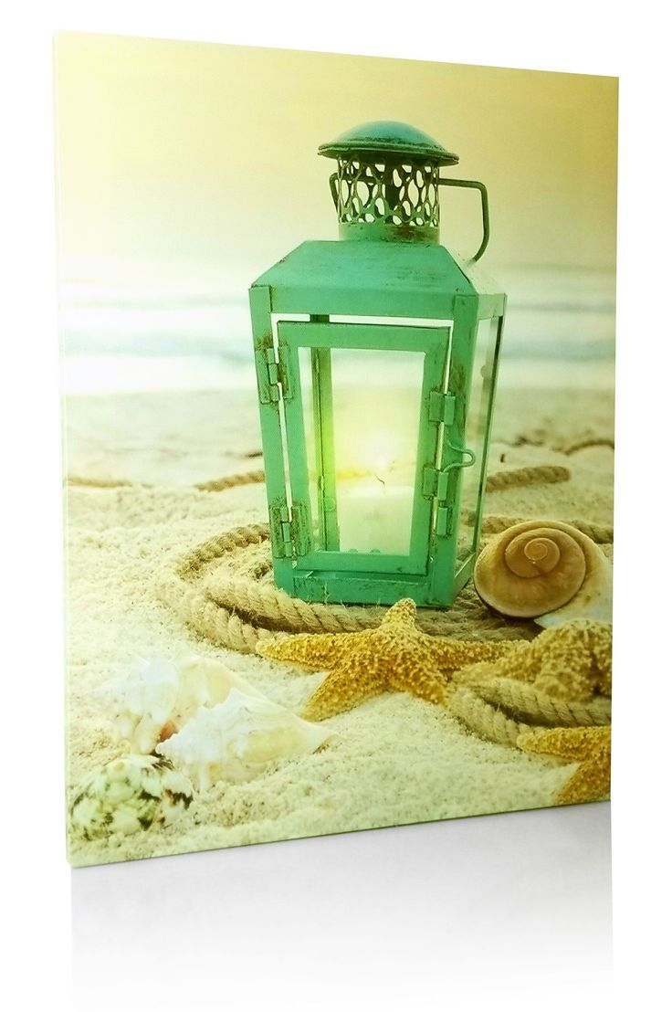 Beach Canvas Print - LED Print with a Teal Lantern Sitting on the Beach - Seaside Setting with Shells and Starfish - Ocean Prints - Coastal Decor