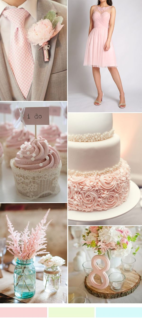 TBQP301 vintage pink wedding color ideas - pink short tulle bridesmaid dress: