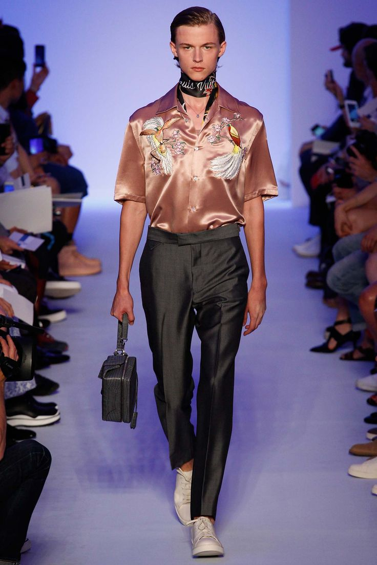 A trend emerging: embroidered satin camper shirt here by Louis Vuitton Spring 2016 #menswear