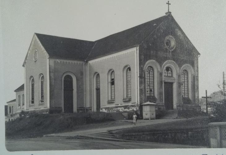 A Catedral de Joinville em 1950. Ela foi derrubada para a construção da catedral atual.