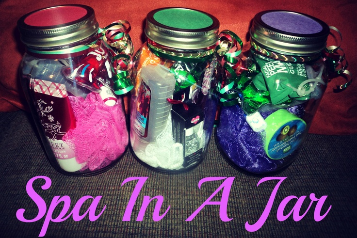 """Just made these """"Spa In A Jar"""" gifts & I looovvee them!   This is what I put in them: Mini Lufa, Lotion, Chapstick, Fingernail Polish, Polish Remover Pads, Shower Gel, Hand Sanitizer, & a Facial Mask.   I personalized them by writing their names on the top of the colored paper & a personalized note on the bottom that only they will see. :)"""