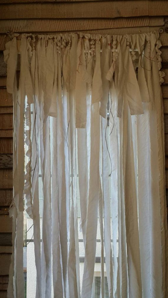 NEW! Gypsy Curtain in white hand torn cotton scrap curtain tied on to natural hemp with satin pink and hemp accents   Free Shipping within the