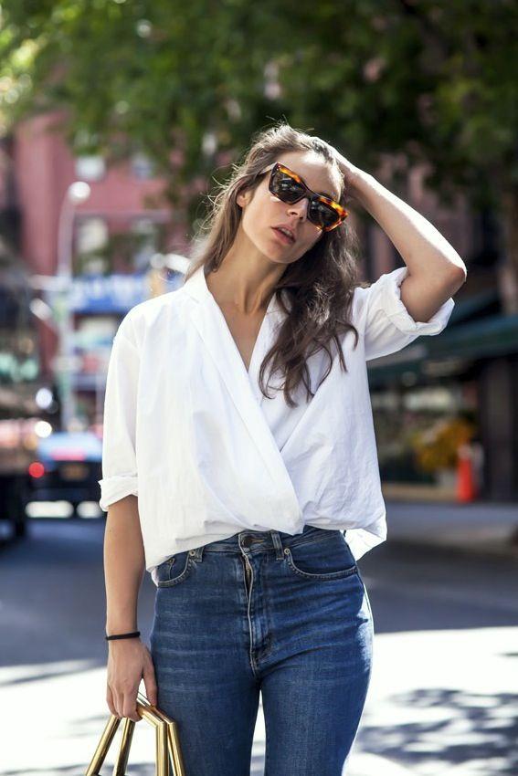 Bottega Veneta shirt, Saint Laurent jeans // white shirt and blue jeans //  keep it simple