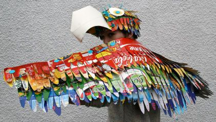 Beautiful parrot costume from upcycled product boxes....WOW!