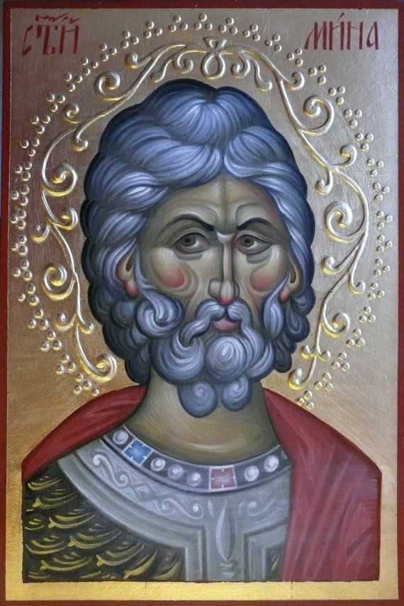 hand painted orthodox icon 7.87x11.8 inches, Icon Saint Menas