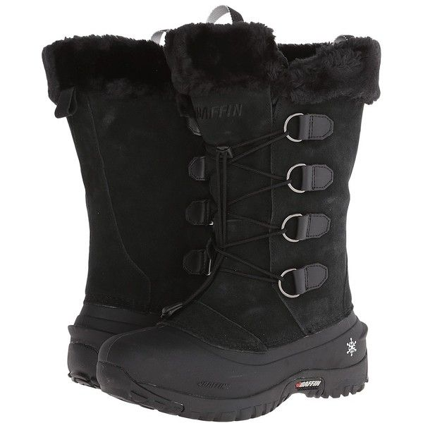 Baffin Kristi (Black) Women's Boots ($185) ❤ liked on Polyvore featuring shoes, boots, black, baffin boots, laced boots, lace up boots, black shoes and black slip resistant shoes