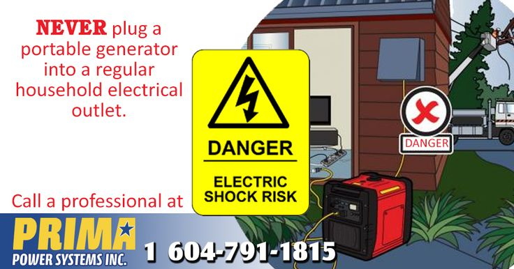NEVER CONNECT YOUR GENERATOR DIRECTLY TO YOUR HOME WIRING! Connecting a portable electric generator directly to your household wiring can be deadly to you and others.Portable Electric Generator Safety Tips