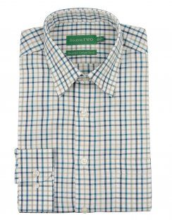 Double Two Warm Handle Cotton Twill Check Shirt - Teal