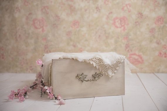 Newborn Digital Backdrop Baby Girl // Vintage Drawer Basket//