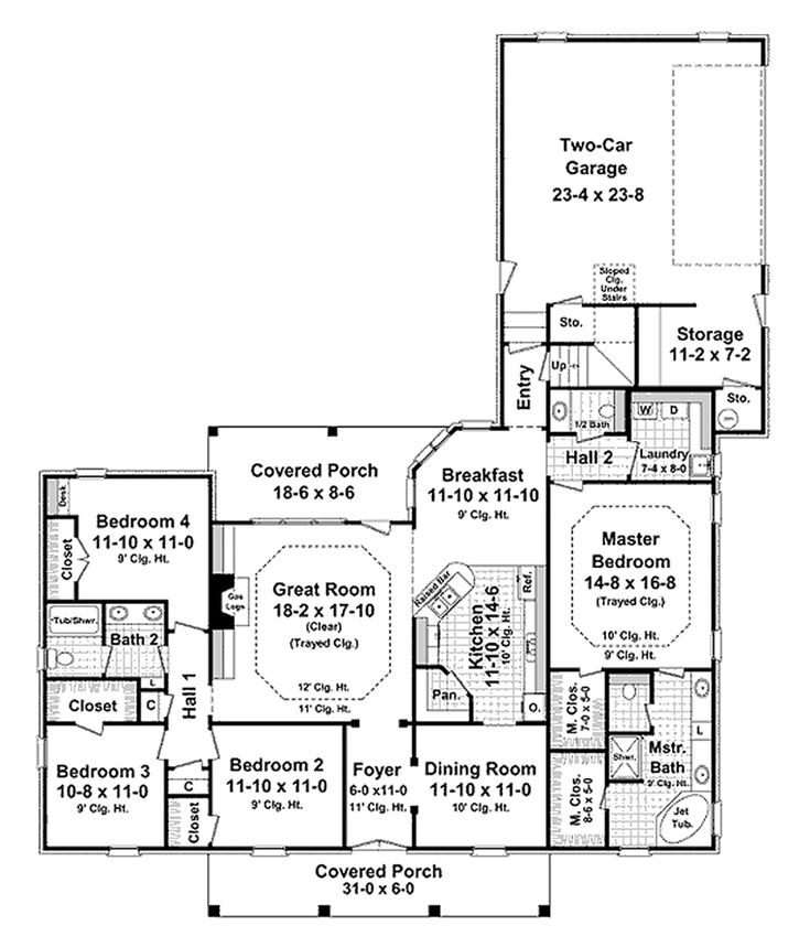 Houseplans European Main Floor Plan 21 264