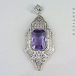 Vintage Large Amethyst And Marcasite Pendant http://www.tias.com/vintage-large-amethyst-and-marcasite-pendant-732149.html#fashionjewelry #jewelrydesign #jewelrydesigner #FineJewelry #bohojewelry #vintagejewelry #customjewelry #statementjewelry #silverjewelry #handcraftedjewelry #uniquejewelry #jewelryforsale #jewelryoftheday #JewelryMaking #highjewelry #bohemianjewelry #designerjewelry #antiquejewelry #beadedjewelry #FF #instafollow #l4l #tagforlikes