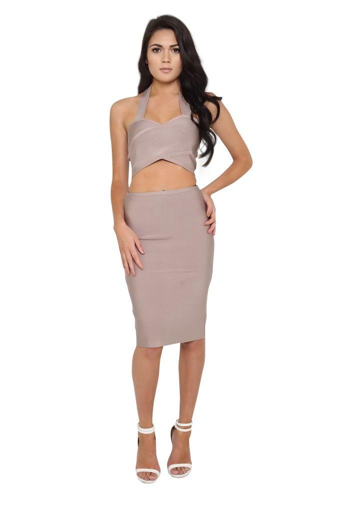 Roxanne Taupe Bandage Set | Bandage Dresses