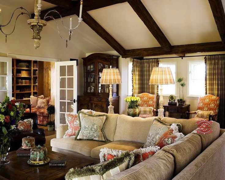 french country family room design favorite rooms pinterest vaulted ceilings exposed. Black Bedroom Furniture Sets. Home Design Ideas