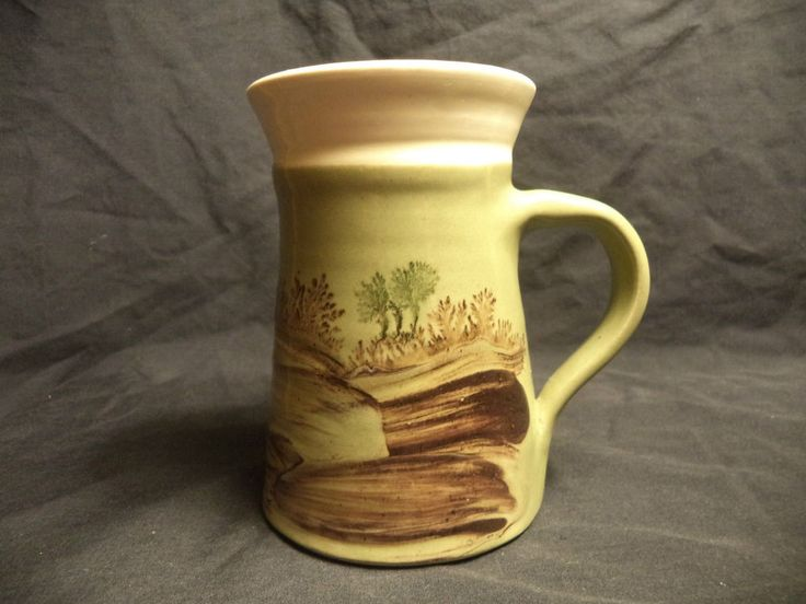 Unique Green Hand Painted Grassland Swamp Forest Coffee Beer Mug