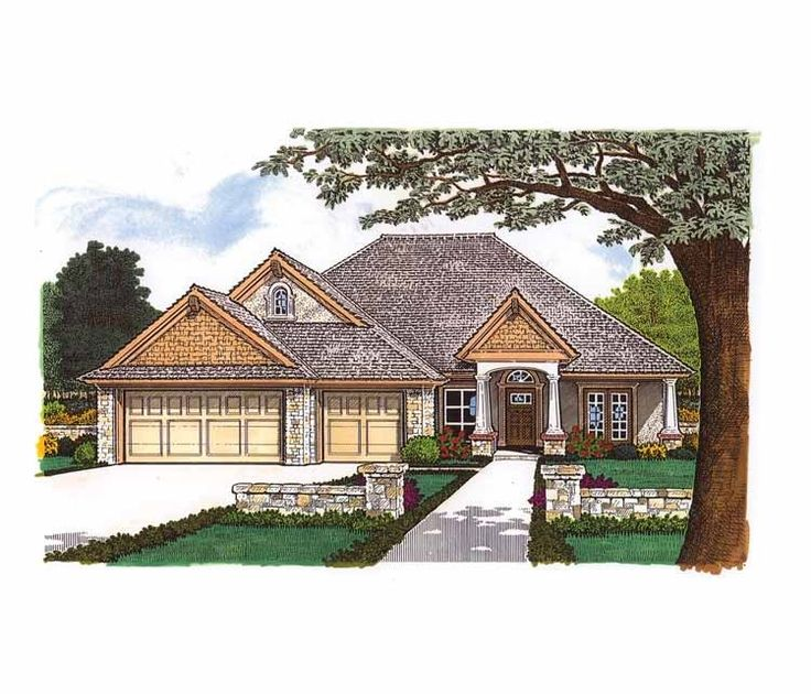 Best House Plans Images On Pinterest Square Feet Floor - Craftsman house plans with 3 car garage