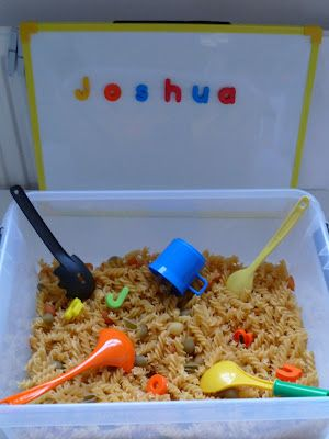 "Pasta as the ""base""-- for a literacy center, the children need to find and scoop out the letters that spell their name, or sight words, or any number of creative things! If there are gluten intolerances in the class, be sure to use an alternative kind of pasta, or a different material entirely!!!"