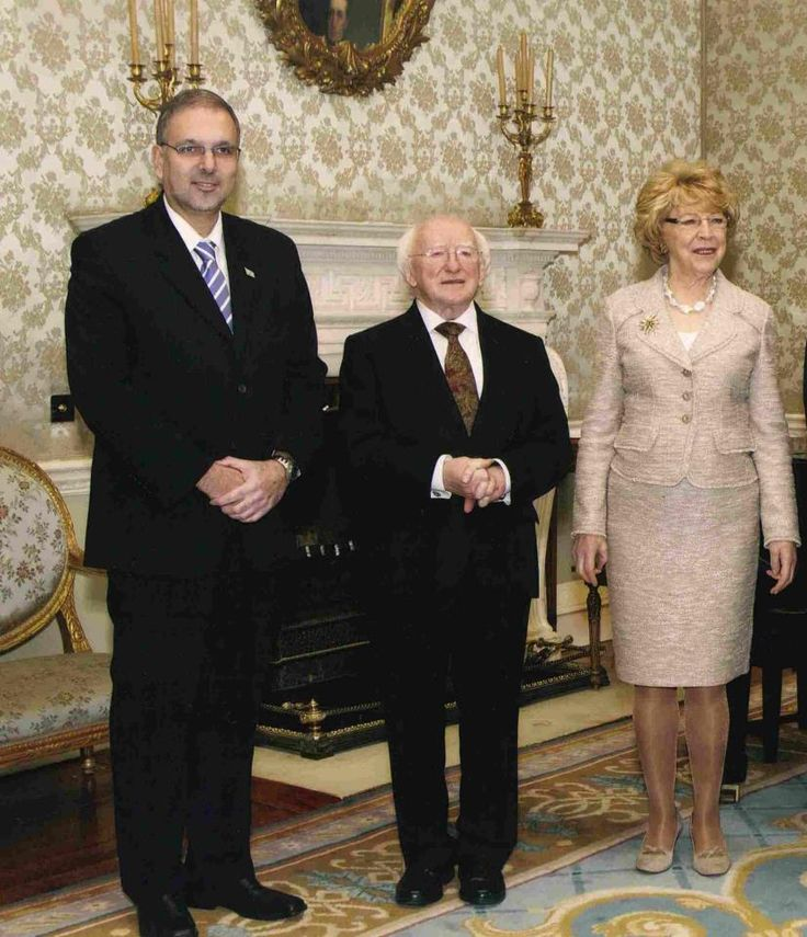 President of Ireland Michael D Higgins with his wife Sabina and Israeli Ambassador Boaz Modai.