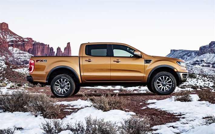 Download wallpapers Ford Ranger, 2019, 4k, side view, new pickup truck, winter, golden SUV, new Ranger, Ford