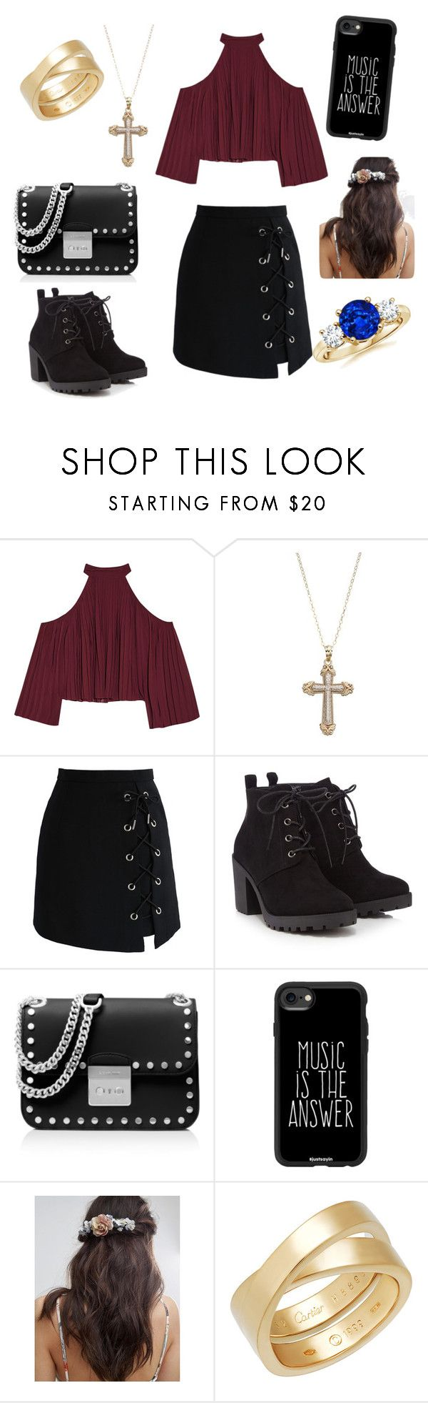 """First date"" by missheru ❤ liked on Polyvore featuring W118 by Walter Baker, Chicwish, Red Herring, MICHAEL Michael Kors, Casetify, Her Curious Nature and Cartier"