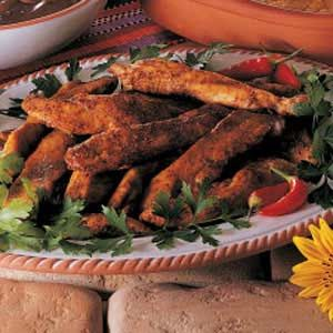 Cajun Chicken Strips Recipe- So good. I marinaded the chicken in italian dressing overnight and added an extra spoonful of flour to the dry mix