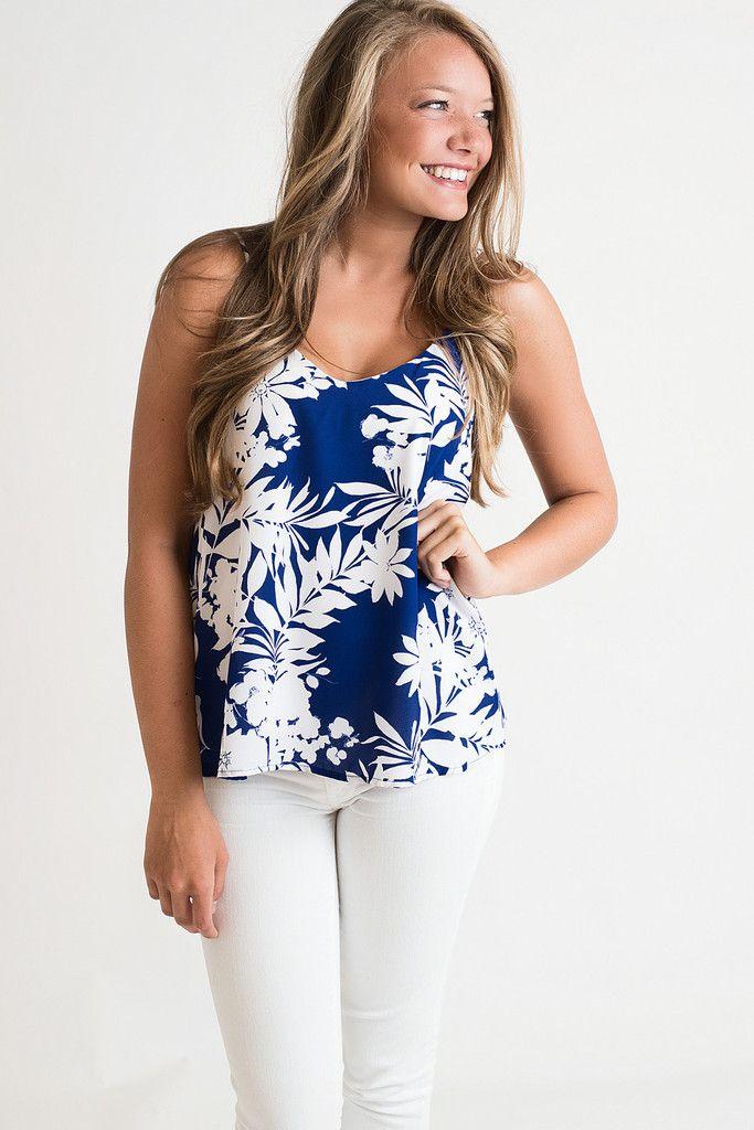 Blue Hawaiian Tank Top, $34.00 #tank #top #Hawaiian #colorful #flowers #vneck #singlethreadbtq #shopstb #boutique