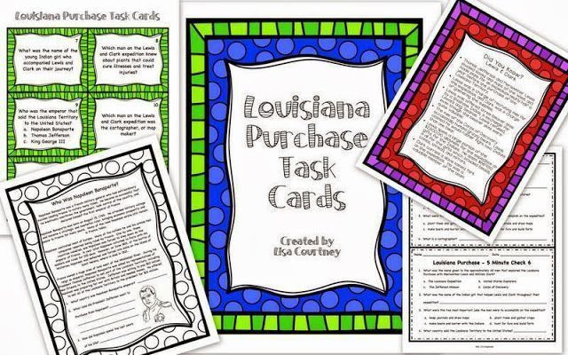 LOUISIANA PURCHASE / LEWIS & CLARK - This 89 page unit contains everything you need to teach a unit about the Louisiana Purchase and the Lewis and Clark Expedition. There are daily reviews, worksheets, activities, an assessment, and vocabulary/word wall cards. Students are allowed many opportunities to learn about the Louisiana Purchase and the beginnings of the westward expansion. $