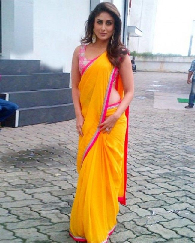 Kareena In  Mango Yellow Georgette Saree.Now Hurry up with Bollywood Diva's style @ Looksgud.in #KareenaKapoor #Yellow  #Bollywood