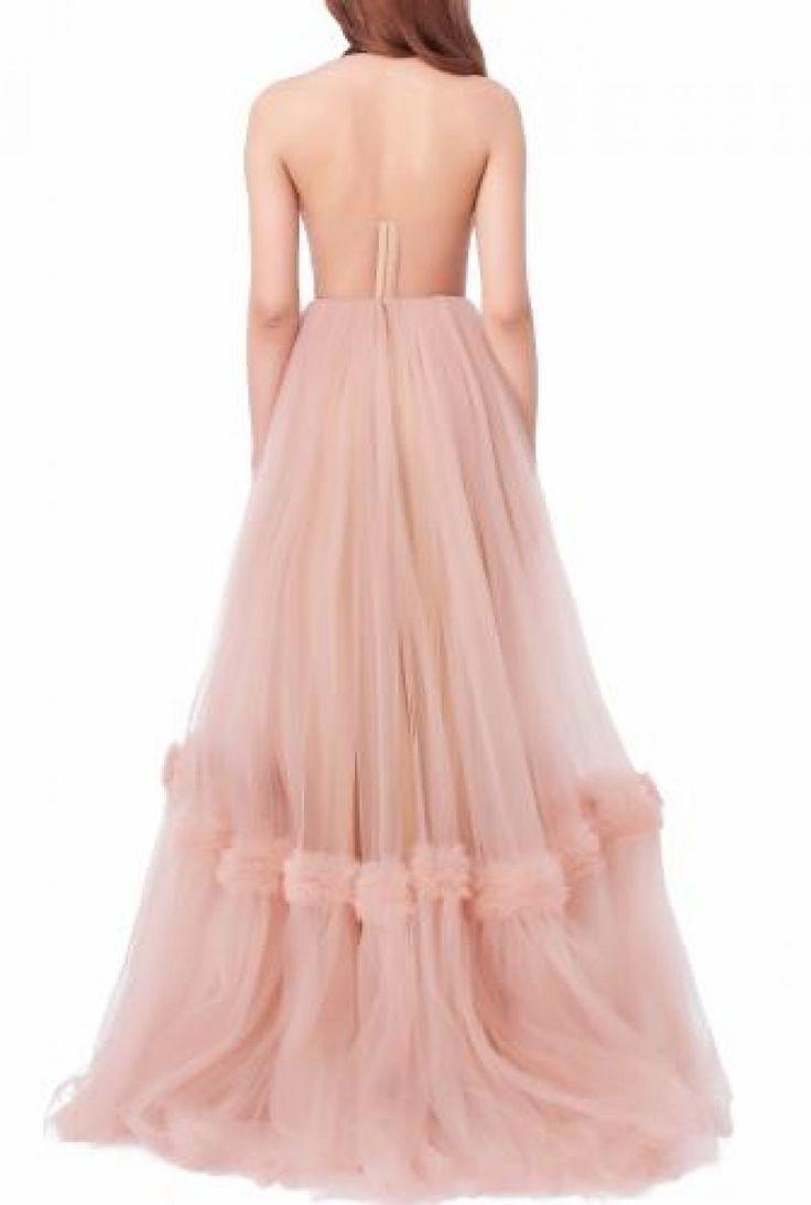Rochie de mireasa Zahra din tulle roz cu spatele gol   Mai multe rochii de mireasa pe www.totuldesprerochii.ro