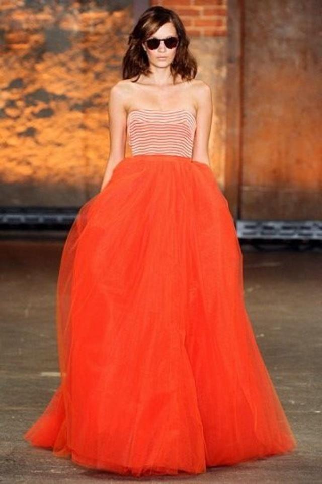 Tulle orange dress & chevron