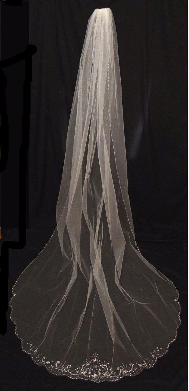 Beaded Scalloped Edge Cathedral Length Wedding Veil with Floral Detailing - Affordable Elegance Bridal -