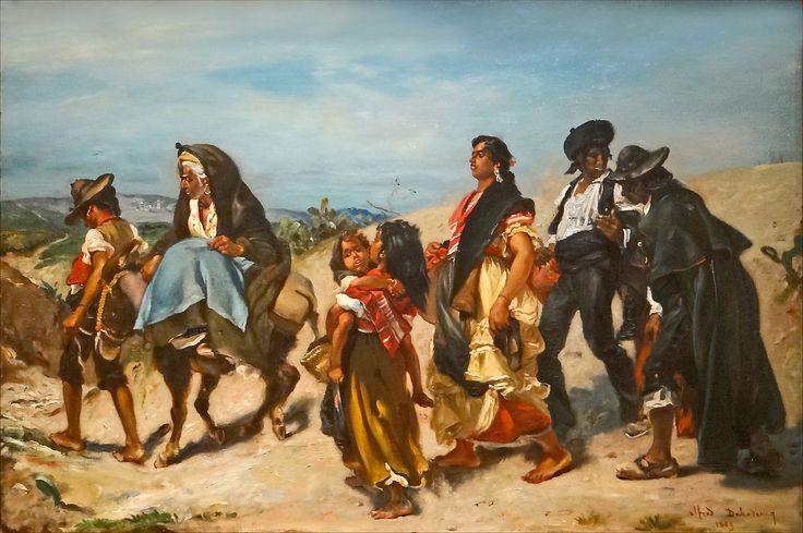 """Alfred Dehodencq: """"Bohémiens en marche"""" 1860 oil on canvas musée d'Orsay"""
