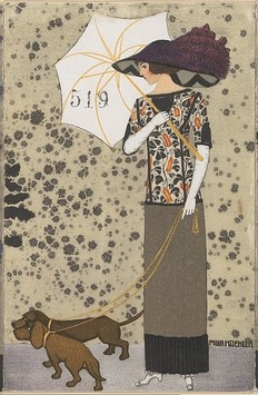 Mode (3), Mela Koehler (Austrian, Vienna 1885–1960 Stockholm), Published by Wiener Werkstätte, ca. 1907/8–14, Color lithograph, 5 1/2 x 3 9/16 in.