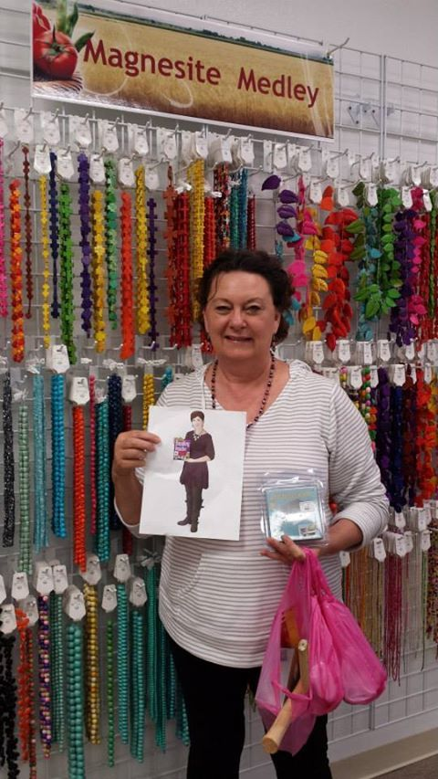 Flat Cathy and Viola checkiing out the Magnesite Medley. Bead Bistro, Gourmet Beadery, in Killeen, TX