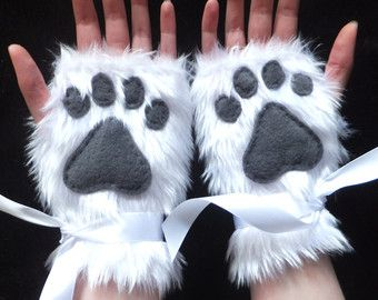 Cute White Furry Wolf Arctic Fox Husky Dog Polar Bear Cat Paw Print Faux Fake Fur Fingerless Gloves Wrist Warmers Halloween
