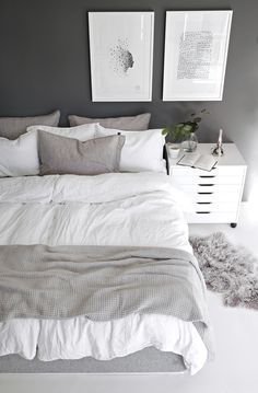 White and grey Scandinavian bedroom