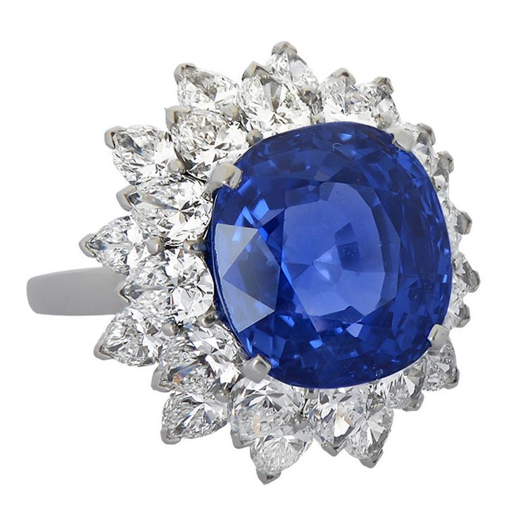 bulgari 11 carat ceylon sapphire diamond ring from a unique collection of vintage cluster rings