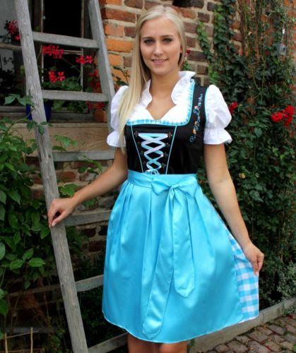 NEU-Tolles-Dirndl-3-tlg-Set-Kleid-Bluse-Schuerze-tuerkis-schwarz-36-38-40-42-44