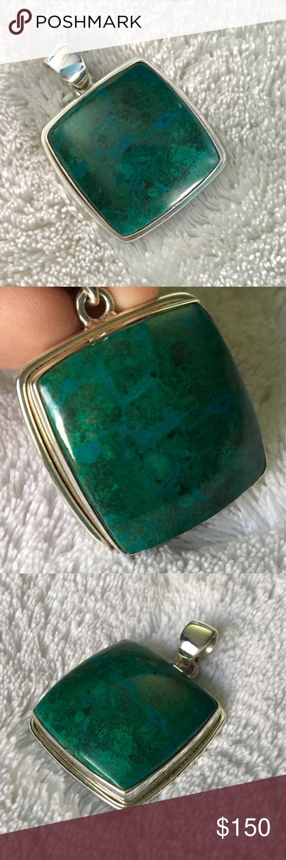 Chrysocolla Pendant (C) in .925 silver Beautiful square shaped chrysocolla Pendant in .925 silver.  Stone Information - Chrysocolla is a gemstone quality hydrous copper silicate, often forming with copper salts, iron and manganese oxides.  Chemical formula - Cu2H2Si2O5(OH)4.   Azurite, malachite and chrysocolla are commonly found in the oxidized zones of copper veins and deposits. The color is usually green to sky blue and is idiochromatic due to the presence of the chromophore copper…