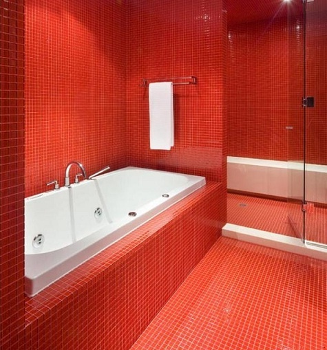 123 best colour at home red images on pinterest home for Red bathroom tiles design
