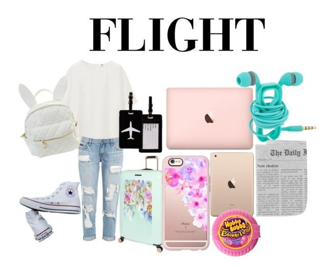 """The Flight thanks @rosie305 for the inspiration and advice"" by tyra504 ❤ liked on Polyvore featuring Uniqlo, Converse, cutekawaii, Ted Baker, TravelSmith and Casetify"