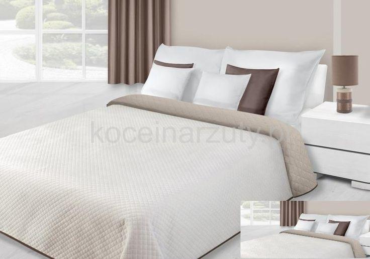 Dwustronne koce i narzuty pluszowe w kolorze kremowym na łóżko