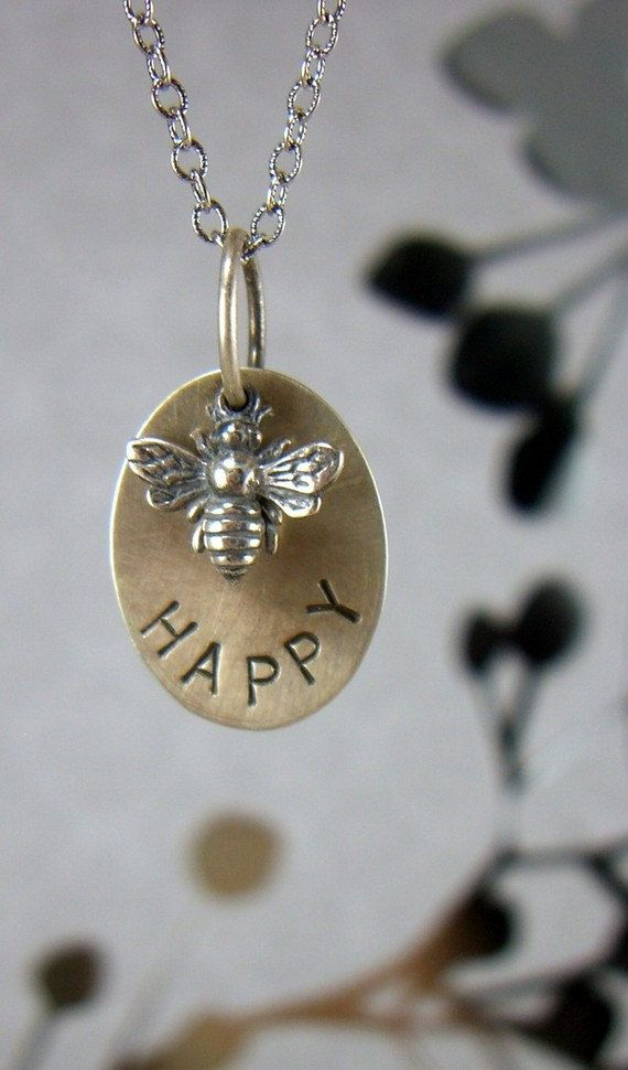 Inspirational Bee Happy Sterling Necklace, Queen Bee, Graduation Gift, Quote Bee Happy, Gift for Her, BFF, Handstamped, Custom